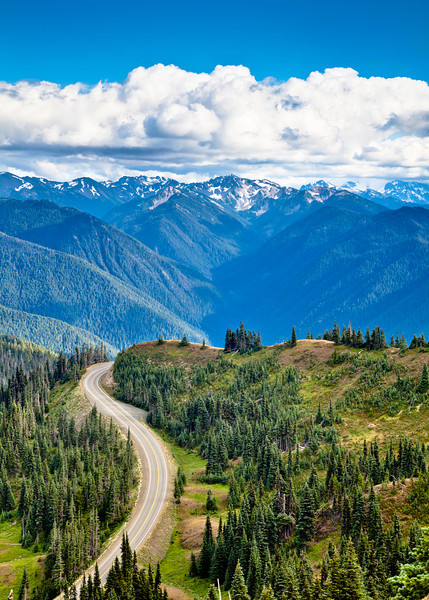 View of the mountain tops in the Olympic Wilderness with the road to the Hurricane Ridge Visitor Center