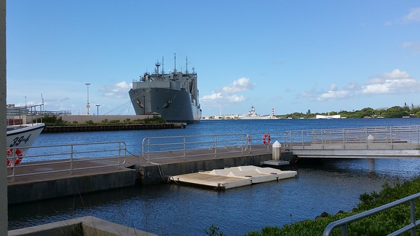 Centre right is the USS Missouri