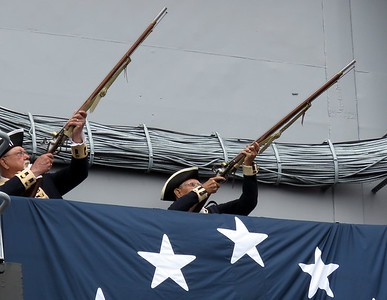 Musket Salute from upper deck