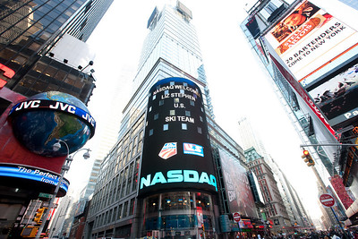 The Nasdaq sign in Times Square. October 29, 2009 Photo © 2008, The NASDAQ OMX Group, Inc.