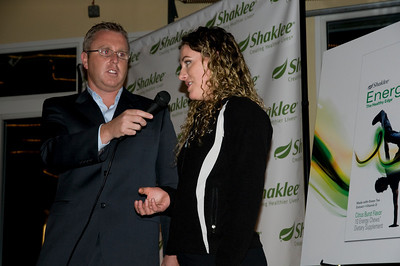 2009 Shaklee Energy Chews launch party, Chelsea Piers, New York City  USSA Sport Science Director, Troy Flanagan and Stacey Cook, U.S. Ski Team Alpine  October 28, 2009  Photo: Katie Perhai/USSA