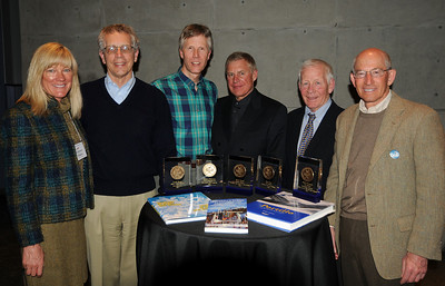 Honorees at the awards banquet of the International Ski History Association (ISHA) at the Alf Engen Ski Museum at the Utah Olympic Park in Park City, Utah. From left are Alf Engen Museum and event organizer Connie Nelson, David Antonucci (Ullr Award for Snowball's Chance, the Story of the 1960 Winter Games), Lowell Skoog (Cyber Award for alpenglow.org), Hank Tauber of the International Ski Federation (accepting on behalf of FIS and Karin Rase, Ullr Award for Skiing in Art and Design), Henry Purcell (Skade Award for Portillo, the Spirit of the Andes) and ISHA President Barry Stone. (USSA/Tom Kelly)