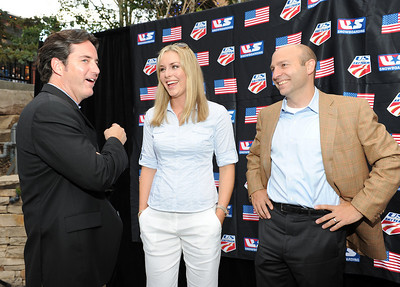 Visa's Matt Kauffman (left) chats with Olympic and Audi FIS World Cup champion Lindsey Vonn and new USSA Chief Revenue and Marketing Officer Andrew Judelson as sponsors, licensees and suppliers join Olympic athletes at the U.S. Ski Team and U.S. Snowboarding's 2010 Partner Summit reception at Zoom on Main Street in Park City, Utah. July 20, 2010 Photo © Scott Sine