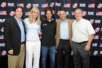 Visa's Matt Kauffman (left) poses with Olympic and Audi FIS World Cup champion Lindsey Vonn, three-time Olympic silver medalist Johnny Spillane, USSA Chief Revenue and Marketing Officer Andrew Judelson, and USSA President and CEO Bill Marolt as sponsors, licensees and suppliers join Olympic athletes at the U.S. Ski Team and U.S. Snowboarding's 2010 Partner Summit reception at Zoom on Main Street in Park City, Utah. July 20, 2010 Photo © Scott Sine