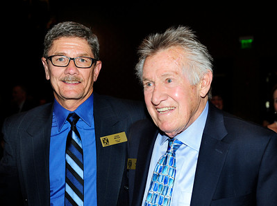 New inductee John Meyer (left) with past honoree Coach Bob Beattie at induction ceremony for the Colorado Ski and Snowboard Hall of Fame. (c) 2012 Tom Kelly
