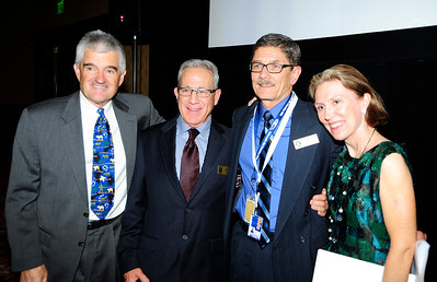 Honoree John Meyer poses with John McMurtry, John Garnsey and Melanie Mills during the induction ceremony for the Colorado Ski and Snowboard Hall of Fame. (c) 2012 Tom Kelly