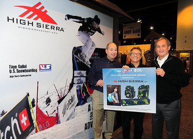 High Sierra Sport is presented with the Doc desRoches Award at the Snowsports Industries America (SIA) Snow Show in Denver. From left, High Sierra President Hank Bernbaum, SIA President David Ingemie and USSA President and CEO Bill Marolt.