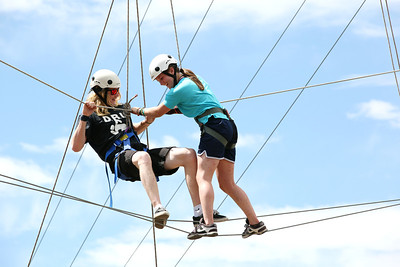 2012 Rookie Camp: Believe and Achieve Hagan Kearney and Arielle Gold Ropes course at the NAC for team building. Photo: USSA