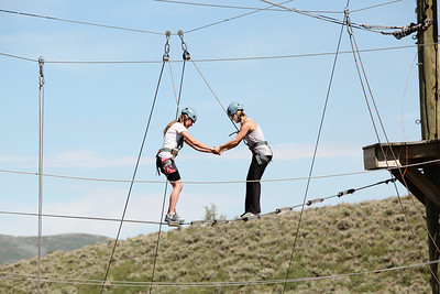 2012 Rookie Camp: Believe and Achieve Jessika Jenson (l) and Jordie Karlinski (r) Ropes course at the NAC for team building. Photo: USSA