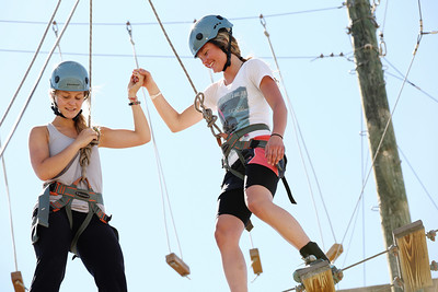2012 Rookie Camp: Believe and Achieve Jordie Karlinski (l) and Jessika Jenson (r) Ropes course at the NAC for team building. Photo: USSA