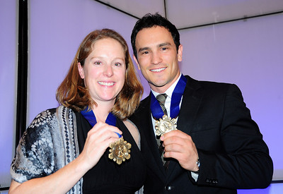 Hall of Famers Kirsten Clark and Jeremy Bloom