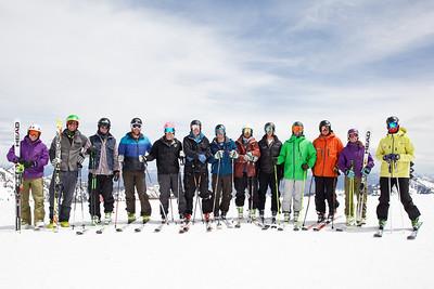 Members of the U.S. Ski Team (l-r): PSIA member, Steven Nyman, Tanner Farrow, Will Brandenburg, Brennan Rubie, Marco Sullivan, David Chodousnky, ?, ?, Jared Goldberg, ?, PSIA member Robyn, PSIA member 2014 PSIA/U.S. Ski Team certification at Snowbird Resort. Photo: Sarah Brunson/U.S. Ski Team
