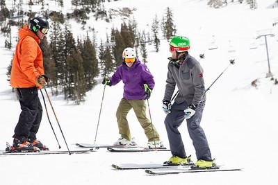 Steven Nyman (grey) 2014 PSIA/U.S. Ski Team certification at Snowbird Resort. Photo: Sarah Brunson/U.S. Ski Team