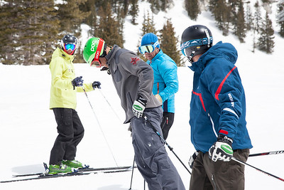 Steven Nyman (grey), David Chodounsky(dark blue) 2014 PSIA/U.S. Ski Team certification at Snowbird Resort. Photo: Sarah Brunson/U.S. Ski Team