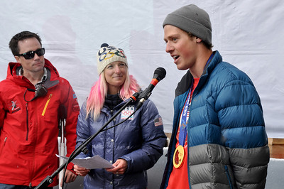 Joss Christensen speaks at the 2014 Park City Olympian Homecoming celebration.  Photo: Riley Steinmetz/USSA