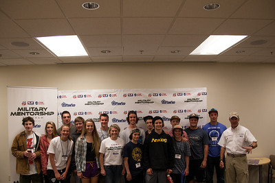 Athletes pose with Rob Powers and Jen Householder of the Military Mentorship Program in partnership with USSA. Center of Excellence, Park City, UT. 2014 Rookie Camp - We started from the bottom, now we're here. Photo: USSA