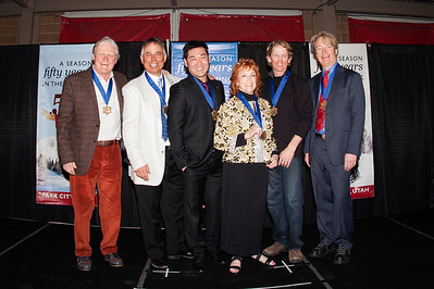 "(l-r) Joe Jay Jalbert, John Clendenin, Toby Dawson, Jerry Simon (Wife, Barbara accepting), Scot Schmidt and Kris ""Fuzz"" Feddersen 2014 U.S. Ski Hall of Fame induction in Park City, UT Photo: U.S. Ski Team"
