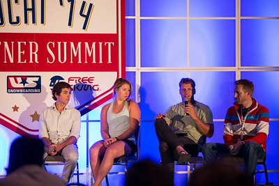 (l-r) Deric Gunshor of Aspen, U.S. Ski Team's Katie Ryan and Steven Nyman, and Vail/Beaver Creek's Dunan Horner. 2014 USSA Partner Summit  General Summit Sessions at the Center of Excellence, Park City Photo: USSA