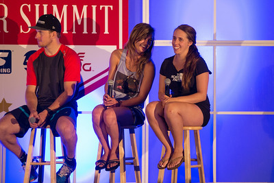 (l-r) Gold medalists Ted Ligety, Kaitlyn Farrington and Maddie Bowman 2014 USSA Partner Summit  General Summit Sessions at the Center of Excellence, Park City Photo: USSA