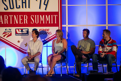 2014 USSA Partner Summit panel including (from left) Deric Gunshor of Aspen, U.S. Ski Team's Katie Ryan and Steven Nyman, and Vail/Beaver Creek's Dunan Horner.  General Summit Sessions at the Center of Excellence, Park City Photo: USSA