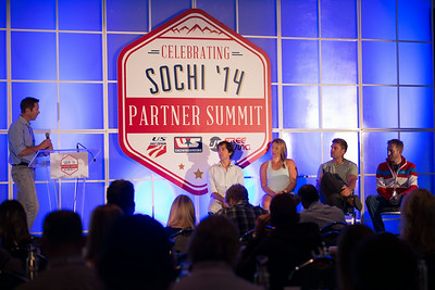 Moderator Chris Davenport speaks with panel at 2014 USSA Partner Summit including (from left) Deric Gunshor of Aspen, U.S. Ski Team's Katie Ryan and Steven Nyman, and Vail/Beaver Creek's Dunan Horner.  General Summit Sessions at the Center of Excellence, Park City Photo: USSA