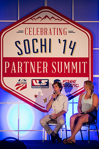 Panelists Deric Gunshor (left) of Aspen and U.S. Ski Team's Katie Ryan of Aspen at 2014 USSA Partner Summit  General Summit Sessions at the Center of Excellence, Park City Photo: USSA