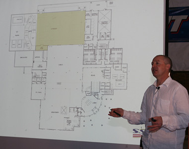 Andy Walshe presents the new training facility to USSA staff and the Board of Trustees