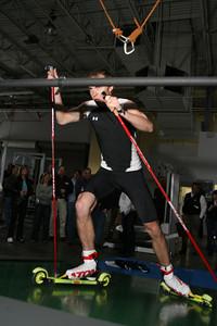 Bill Demong demonstrates the treadmill