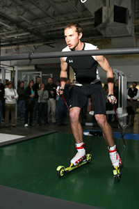 Bill Demong enters a sprint on the treadmill