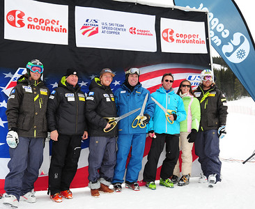 Ribbon cutting during the opening of the U.S. Ski Team Speed Center at Copper, with full length downtraining for the U.S. Ski Team. Pictured (L-R) are: Wiley Maple, Bill Marolt, Ted Ligety, Gary Rodgers, John Cumming, Picabo Street and Erik Fisher. (c) 2011 USSA/Tom Kelly