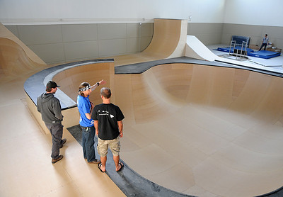 USSA club officials check out the ramps and tramps area of the Center of Excellence in Park City, Utah.