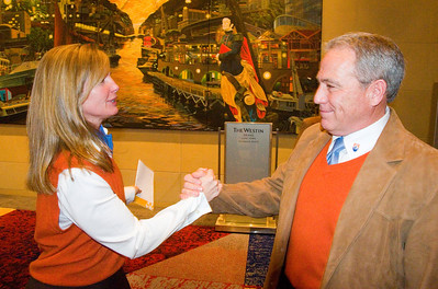 John Garnsey congratulates Ceil Folz after her presentation of the Beaver Creek/Vail 2013 FIS Alpine World Ski Championships bid to the FIS Congress 2008 in Cape Town, South Africa (c) 2008 USSA