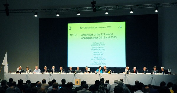 FIS Council sits at the head table of FIS Congress 2008 in Cape Town. (c) 2008 USSA