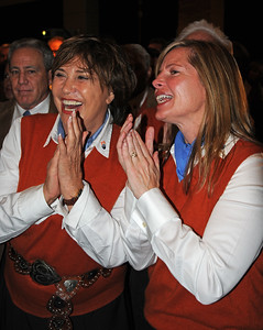 Ceil Folz (right), Sheika Gramshammer (middle) and John Garnsey (left) react as Schladming is chosen at the site of the 2013 FIS Alpine World Ski Championships over Beaver Creek/Vail at FIS Congress 2008, Cape Town, South Africa (c) 2008 USSA