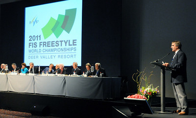Deer Valley Resort's Bob Wheaton addresses the FIS Congress in Cape Town, South Africa, reporting on the progress of the 2011 FIS Freestyle Ski World Championships. (c) 2008 USSA