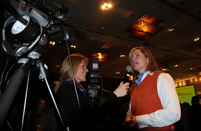 Ceil Folz of the Vail Valley Foundation does an interview after Beaver Creek/Vail came in second in bidding for the 2013 FIS Alpine World Ski Championships at the FIS Congress 2008, Cape Town, South Africa (c) 2008 USSA
