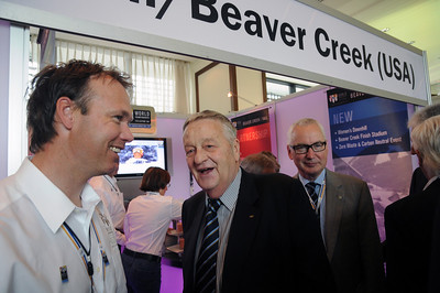 World Championship medalist Patrick Jaerbyn of Sweden greets members of the FIS Council including FIS President Gian Franco Kasper at the Beaver Creek/Vail booth. The USA is bidding for the FIS 2015 Alpine Ski World Championships with candidate Beaver Creek/Vail. (USSA)
