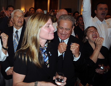 John Garnsey and Ceil Foltz express relief and excitement as the FIS Council awards Beaver Creek/Vail the 2015 FIS Alpine World Ski Championships. (USSA)