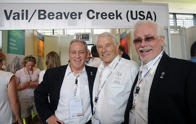 John Garnsey, Pepi Gramshammer and Erik Borgen pose in front of the Beaver Creek/Vail booth at the FIS Congress in Antalya, Turkey. The USA is bidding for the FIS 2015 Alpine Ski World Championships with candidate Beaver Creek/Vail. (USSA)