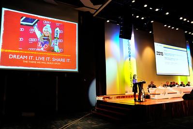 2015 Alpine World Championships leader Ceil Folz addresses FIS Congress, High 1 Resort, Kangwonland Hotel, South Korea. (USSA/Tom Kelly)