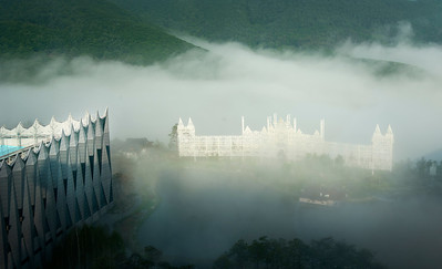 Foggy morning at Kangwon Land Hotel during FIS Congress, High 1 Resort, Kangwonland Hotel, South Korea. (USSA/Tom Kelly)