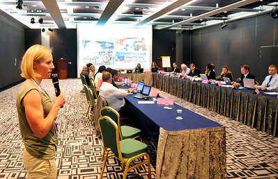 FIS Athlete Commission member Kikkan Randall speaks on the anti-doping campaign Clean as Snow to the FIS PR and Mass Media Committee at FIS Congress, High 1 Resort, Kangwonland Hotel, South Korea. (USSA/Tom Kelly)