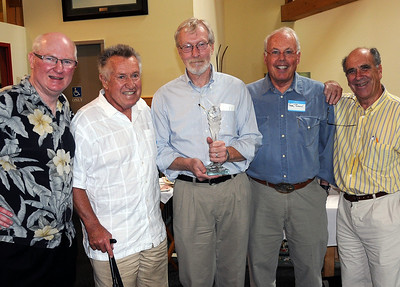 Longtime Associated Press sports writer Mike Clark (center) was honored with presentation of a FIS Journalist Award at a ceremony June 28, 2008 at the Dartmouth Skiway near Lyme, NH. L-R: Tom Kelly (USSA VP Communications and FIS PR & Mass Media Committee chairman, past recipient Bob Beattie, Mike Clark, past recipient Gary Black and past recipient John Fry.