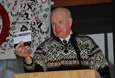 Tom West offers a membership to attendees at the induction ceremony for the U.S. Ski and Snowboard Hall of Fame, Deer Valley Resort, Park City, Utah