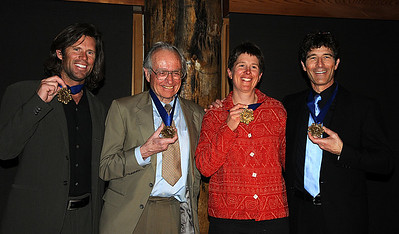 New honored membesr show off their medals at the induction ceremony for the U.S. Ski and Snowboard Hall of Fame, Deer Valley Resort, Park City, Utah. L-R, Nelson Carmichael, Bill Briggs, Liz McIntyre, Cary Adgate.