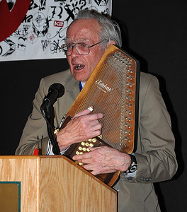 Bill Briggs plays a ski song at the induction ceremony for the U.S. Ski and Snowboard Hall of Fame, Deer Valley Resort, Park City, Utah
