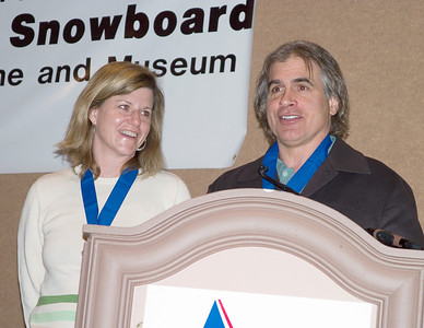 Jake Burton and Donna Carpenter are inducted into the U.S. National Ski and Snowboard Hall of Fame at the SIA.08 SnowSports Trade Show in Las Vegas.