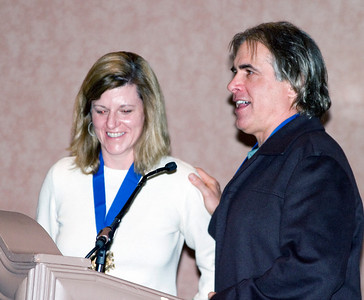 Jake Burton (right) and wife Donna Carpenter are honored at the U.S. National Ski and Snowboard Hall of Fame induction at the SIA.08 SnowSports Trade Show in Las Vegas