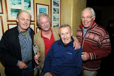 Past recipients of the FIS Journalist Award pose with 2010 recipient Hank McKee of Ski Racing. Pictured (l-r) are Joe Jay Jalbert, Hank McKee, Bob Beattie and Gary Black.