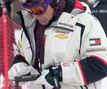 Skier David Pottruck sets up his vLink receiver during the U.S. Ski Team's Ski for Gold High Performance Ski Clinic at Deer Valley Resort, featuring introduction of exclusive vLink technology. (Photo: Tom Kelly)